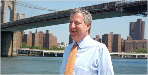Outside of City Hall, mayoral candidate Bill De Blasio and concerned parents hosted a press conference on June 25 to ...