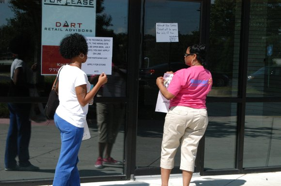 Eager job seekers were turned away in frustration July 8 after Walmart delayed the opening of the hiring center for ...
