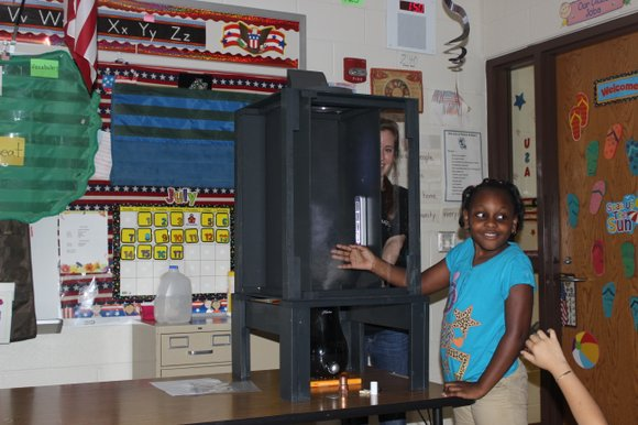 Tiniyah Taylor from Forest Park Individual Education School experienced a Tornado Chamber during summer school at Sator Sanchez Elementary School.