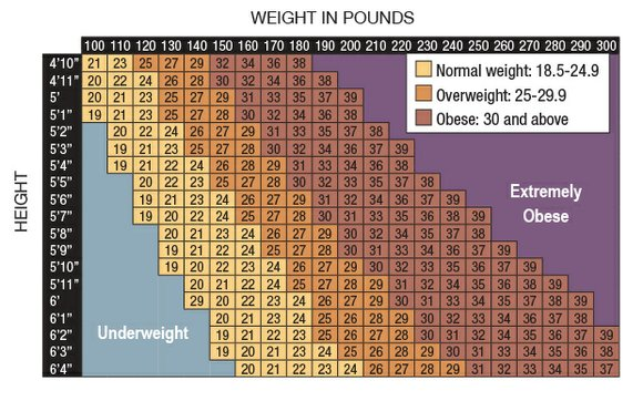BMI and waist size are used to calculate disease risk
