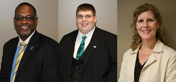 Joliet Township High School Board of Education members R. Dale Evans, Tyler Marcum and Tracy Spesia recently received awards in ...