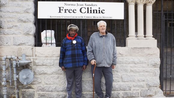 Hamilton Talbert used his walking cane to balance himself as he leaned against the wall of the Kenwood United Church ...