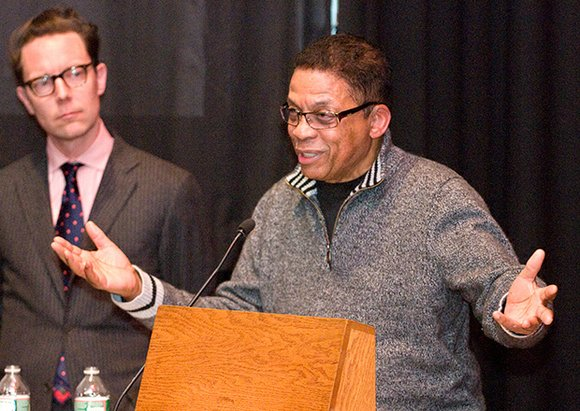 "Jazz legend Herbie Hancock, currently an artist in residence at Harvard University, spoke at a recent screening of ""The Spook ..."