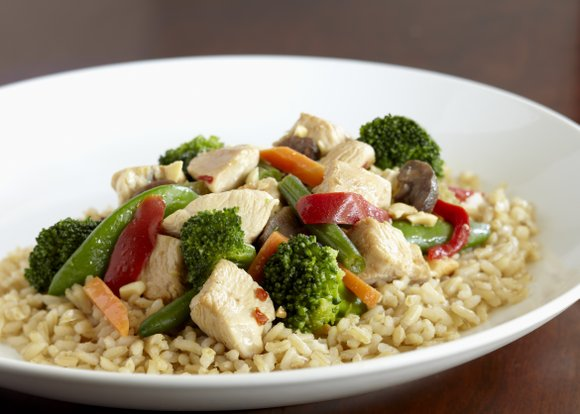 This Szechuan chicken stir fry is inexpensive and easy to make and a good source of potassium, fiber and protein.