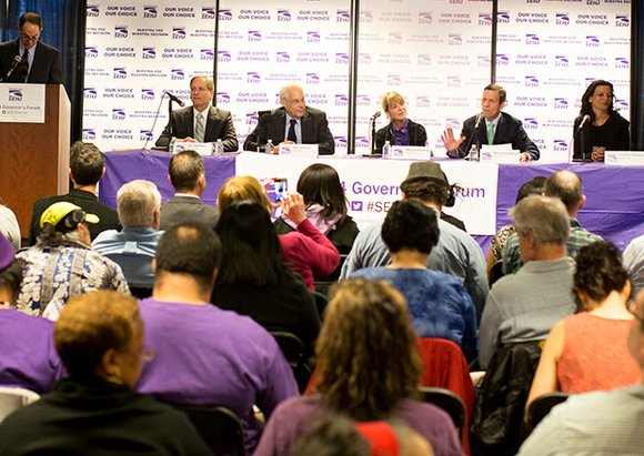 The five Democrats gunning for the Massachusetts governor's office were in Dorchester on Saturday for a forum held by the ...