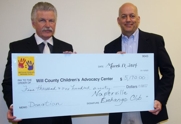 The Naperville Exchange Club recently donated $5,170 to the Will County Children's Advocacy Center to assist in the fight against ...