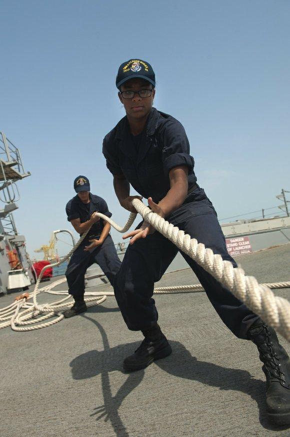 Local Navy Seaman Makayla Johnson a San Bernardino Native Serving aboard USS Arleigh Burke