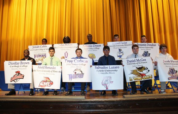 Eleven Joliet Central High School student athletes were honored on May 16 at a special ceremony recognizing the intent to ...
