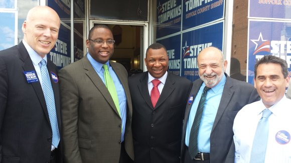 Mayor Martin Walsh endorses Sheriff Steve Tompkins at his Dudley Square campaign office opening