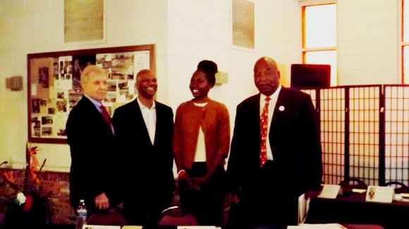 Chicago Mayoral candidates Dr. Amara Enyia; Ald. Bob Fioretti (2nd Ward); former Cook County Commissioner, Robert Shaw; Chicago police officer, ...