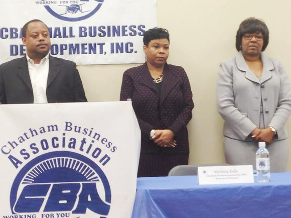 Chatham Business Association (CBA) welcomed Ald. Roderick Sawyer (6th Ward) and Ald. Michelle Harris (8th Ward) to its monthly membership ...