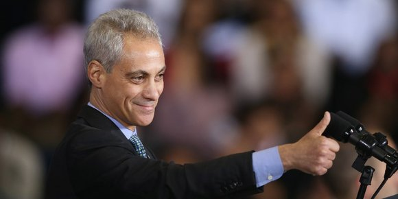 """Chicago Mayor Rahm Emanuel, now serving his second term following his April 7, re-election, over Cook County Commissioner, Jesus """"Chuy"""" ..."""