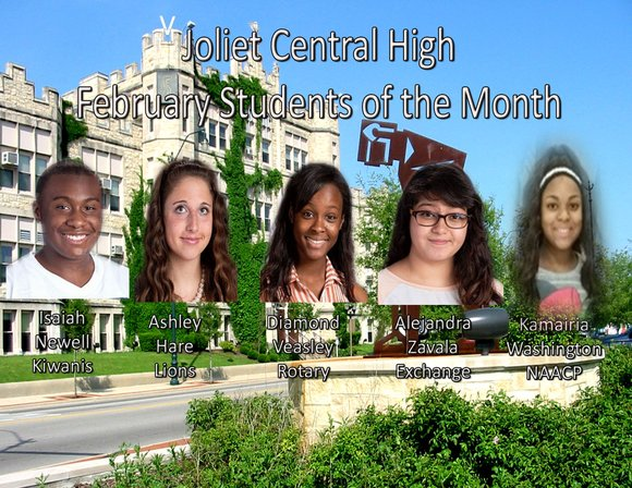 Joliet Central High School Students of the Month for February are Isaiah Newell, Kiwanis Club; Diamond Veasley, Rotary Club; Ashley ...