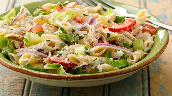 SERVING: 8 Ingredients 10 oz uncooked multigrain penne pasta (about 3 cups) 1 cup diced English (seedless) cucumber 1/4 cup ...