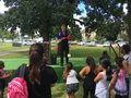 A line that nearly wrapped around the end of Nowell Park with families waiting for up to an hour to ...