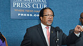 Denise Rolark Barnes, the chairwoman of the NNPA and publisher of The Washington Informer, Dr. Benjamin F. Chavis Jr., president and CEO of the NNPA, and Bernal E. Smith II, a member of the NNPA Board of Directors and publisher of The New Tri-State Defender announce the NNPA's State of Emergency declaration. (Photo: Freddie Allen/AMG/NNPA)