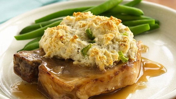 SERVINGS: 4 Ingredients 1 tablespoon butter or margarine 4 bone-in pork loin chops, about 1/2 inch thick (about 1 3/4 ...