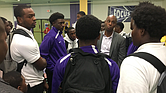 Shelby County Schools Supt. Dorsey Hopson visited Trezevant High School on Friday morning after the decision to forfeit all football games amid an investigation into concerns about a discrepancy involving grades and transcripts. (Screenshot from SCS Twitter.)