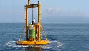 U.S.-based Lockheed Martin is branching out from defense contracting in assisting with the design of Ocean Power Technologies' (OPT) PowerBuoy technology to harness electricity from off-shore wave farms, as deployed here off the coast of Victoria, Australia.