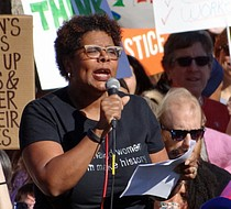 NCRM president Terri Freeman puts the march in perspective and asks marchers to be committed to fighting for equality. (Photo: Merritt Gathen)