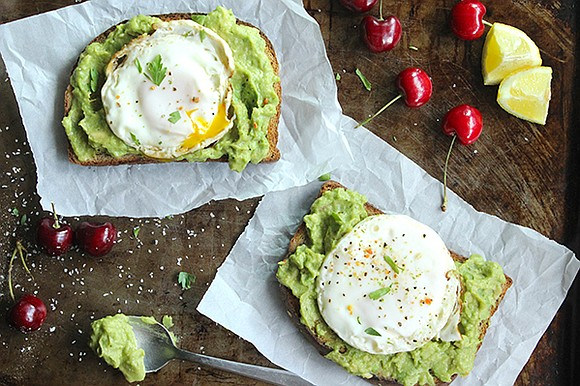 SERVINGS: 1 Ingredients 2 eggs (fried sunny side up) 2 slices of bread (toasted) 1 small avocado 1 teaspoon lime ...