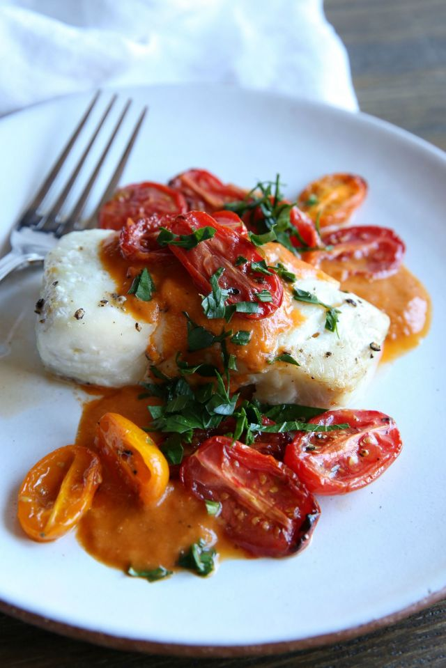Roasted cod with tomato cream sauce the times weekly for Sauce for cod fish
