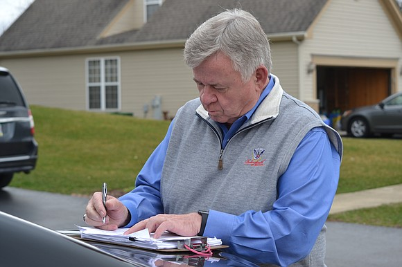 Roger Claar had a busy day on the last Sunday before the April 4 election.