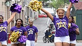 The LeMoyne-Owen College sent these cheering representatives to the parade. (Photo: Karanja A. Ajanaku)