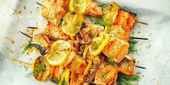 "SERVES: 4 / TOTAL TIME: 0:20 INGREDIENTS 1 lb. salmon fillets, preferably wild, cut into 2"" pieces 3 lemons, sliced ..."