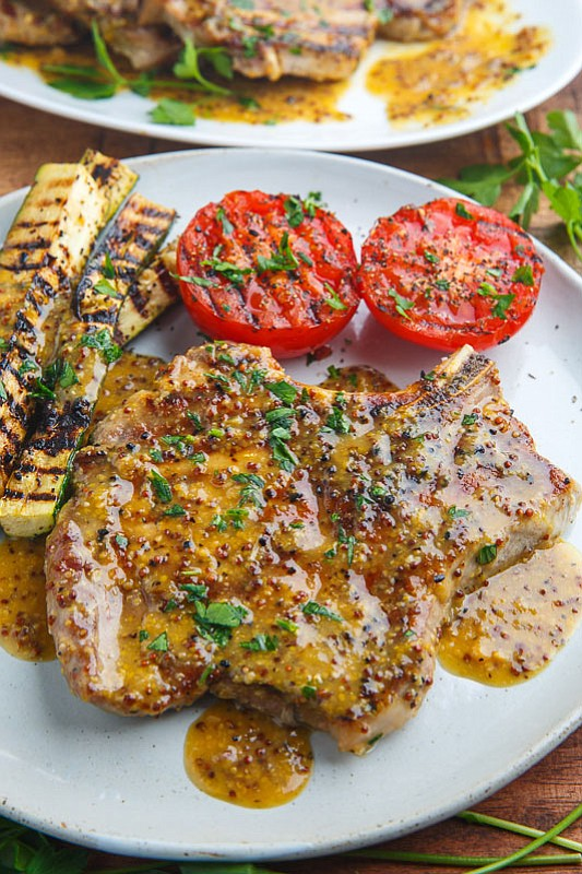Servings: 4 Ingredients • 4 (6 ounce) pork chops • 1/4 cup honey • 2 tablespoons dijon mustard • 2 ...
