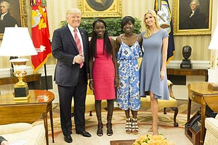 President Donald J. Trump and Presidential Assistant Ivanka Trump welcome Chibok schoolgirls Joy Bishara and Lydia Pogu, who along with ...