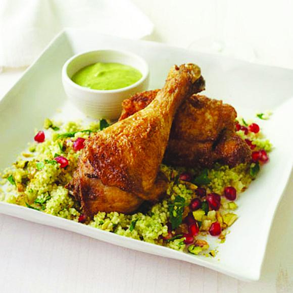 SERVES: 4 / TOTAL TIME: 0:45 INGREDIENTS • 4 chicken drumsticks • 4 chicken thighs • ¼ c. extra-virgin olive ...
