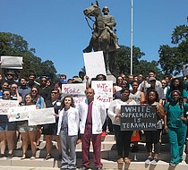 University of Tennessee Health Sciences Center students demonstrate for the removal of the Nathan Bedford Forrest statue, which is located in Health Sciences Park adjacent to the UTHSC campus. (Photo: Dalisia Brye)