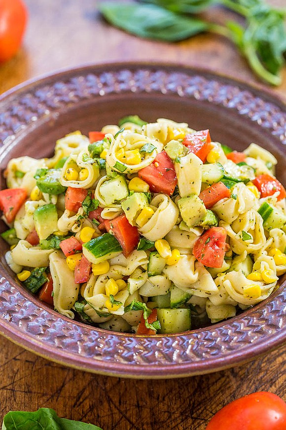 INGREDIENTS: • one 10-ounce package cheese tortellini, cooked according to package directions • 1 avocado, peeled, pitted and diced into ...