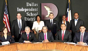 Dallas ISD Board of Trustees. Standing, from left: Dustin Marshall, Joyce Foreman, Miguel Solis, Bernadette Nutall and Lew Blackburn. Seated, from left: Audrey Pinkerton, Dan Micciche, Superintendent Michael Hinojosa, Edwin Flores and Jaime Resendez.