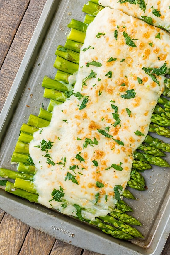 SERVINGS: 4 / TOTAL TIME: 25 MINS INGREDIENTS • 2 pounds thin asparagus, rinsed with ends cut off • 3 ...