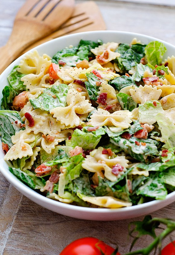 SERVINGS: 6 / TOTAL TIME: 20 MINS INGREDIENTS 1. 2-1/2 cups uncooked bow tie pasta 2. 6 cups torn romaine ...