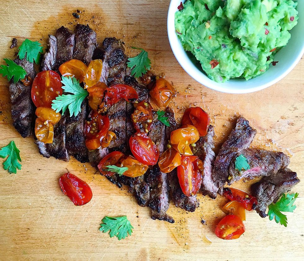 Sides On The Grill: Grilled Skirt Steak With Blistered Tomatoes And Guacamole