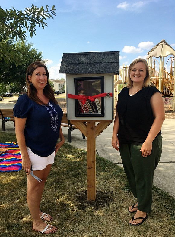 (from left) Ridge Elementary School fourth grade teacher Kris Bruno and Lincoln Elementary School first grade teacher Jessica Whitney built ...