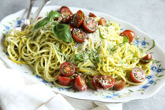 SERVINGS: 4 / TOTAL TIME: 20 MINS INGREDIENTS kosher salt 1/2 lb. spaghetti 2 medium yellow zucchini (about 1 lb.) ...