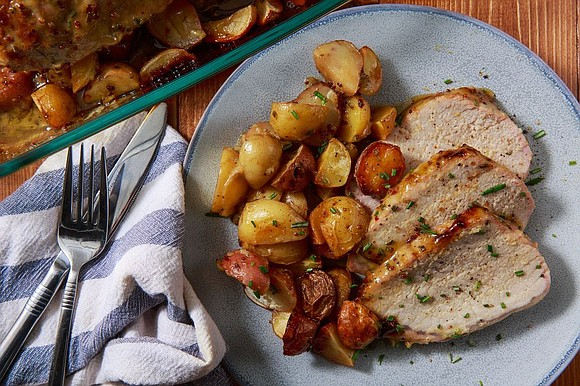 SERVINGS: 6 / TOTAL TIME: 1:10 INGREDIENTS 1 (2-lb.) boneless pork tenderloin Kosher salt Freshly ground black pepper 2 lb. ...