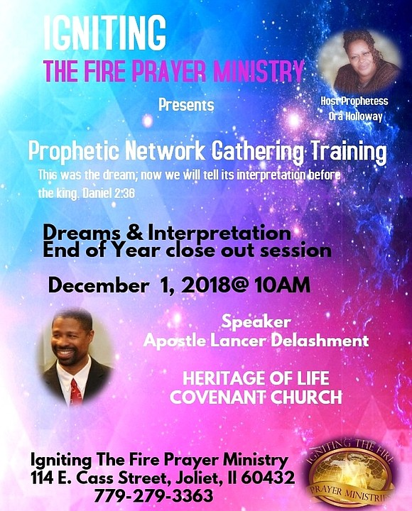 Igniting the Fire Prayer Ministry presents prophetic network gathering training.