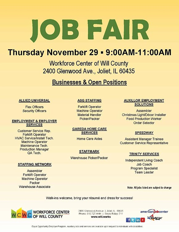 Workforce Center for WIll County Job Fair