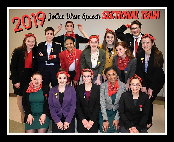 Four Students named Regional Champions and 13 Events Advance to Sectional Competition The Joliet West High School Speech Team delivered ...