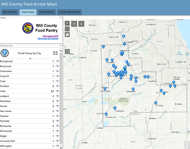 Will County creates website for those who need food to find ... on magnificent mile map, legends map, pacific nw map, delaware valley, cook county, northwest indiana map, illinois map, charlotte douglas airport terminal map, logan square map, atlanta metropolitan area, dupage county, florida map, stores pacific location on map, dekalb county, oak park, cook county map, naperville zip code map, london map, greater houston, will county, barrington on a map, around the world map, chicago map, lake county, gurnee zoning map, great lakes megalopolis, back of the yards map, new york metropolitan area, evanston map, chicago loop, dallas/fort worth metroplex, hegewisch map,