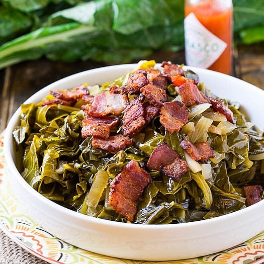 Servings: 6 / Total Time: 1: 15 mins Ingredients • 2 pounds collard greens, rinsed • 5 slices think bacon, ...
