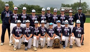 Troy Middle School Trojan Baseball Team took 4th place in State at the IESA Class 3A State Tournament.  Back from left: Assistant Coach Ted Gernand, Darian Artega, Matt Marchiniak, Nick Peter, Drew Wills, Max Hrvatin, Aidan Calvey, Mitch Ragusa, Jimmy Anderson and Head Coach Tom Knapczyk  Front from left: Carlos Del Real, Kyle Koerner, Casey Tyrell, Colin Morgan, John OBrien, Josh Prosise, Cael Karcewski, Owen Young