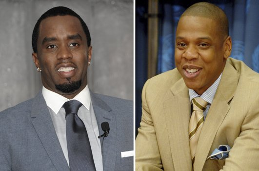 "Sean ""Diddy"" Combs on left. Shawn ""Jay-Z"" Carter on right."