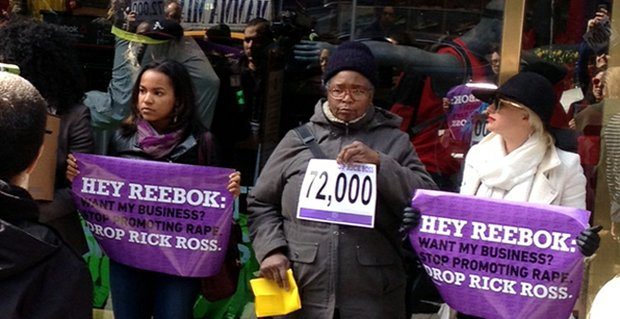 UltraViolet and NOW NYC members stand in front of Reebok's flagship store in New York City to demand the company drop Rick Ross.
