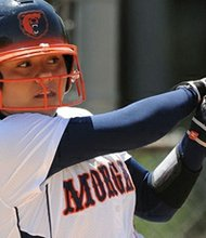 Morgan State player Kimberly Fontaine went 3-for-3 with a game-high 3RBIs against University of Maryland Eastern Shore on Sunday, April 28, 2013. Courtesy Photo